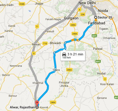 Route Map from Faridabad to Alwar