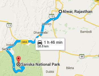 Route map from Alwar to Sarika Tiger Reserve