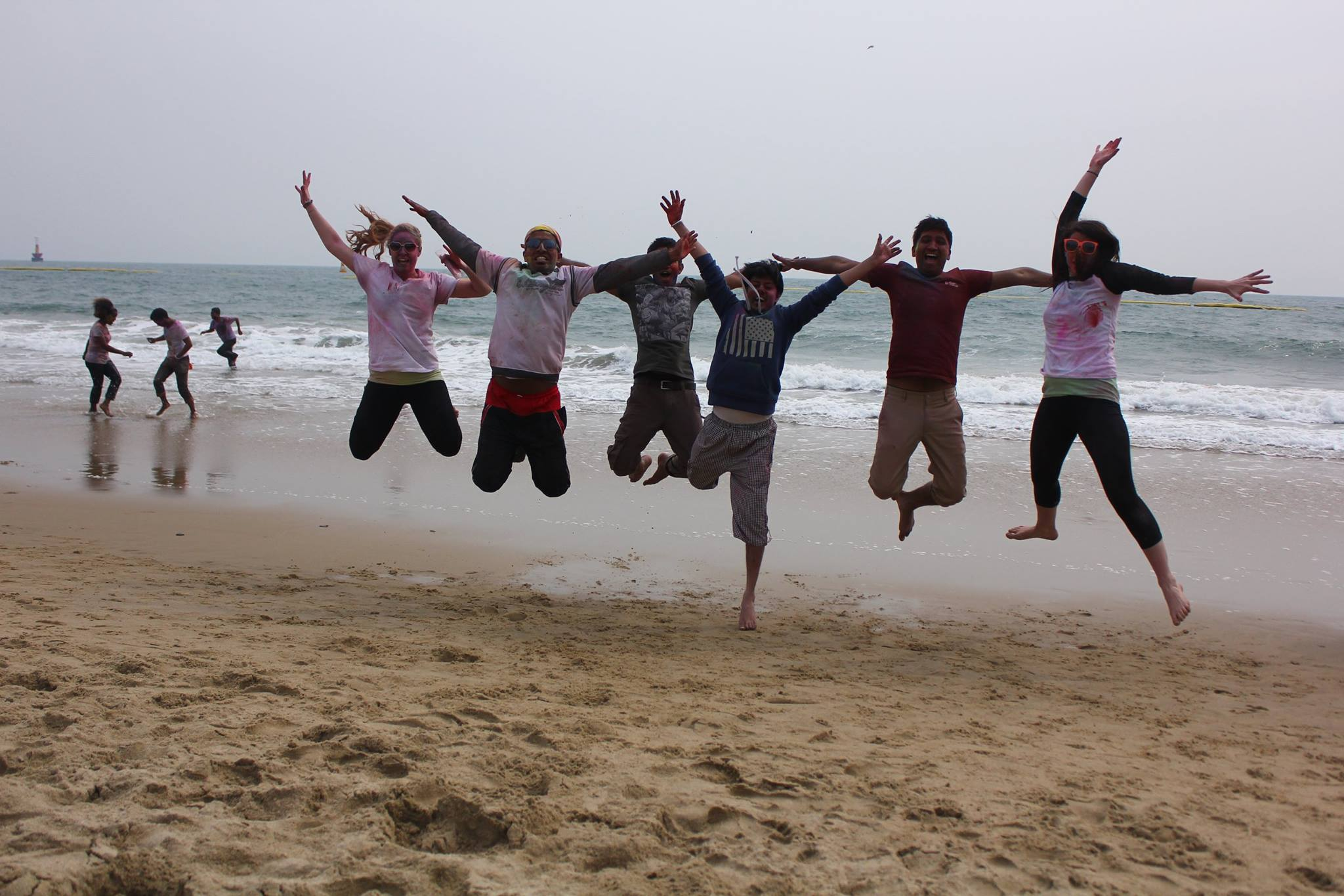 Celebrating Holi at Haeundae beach