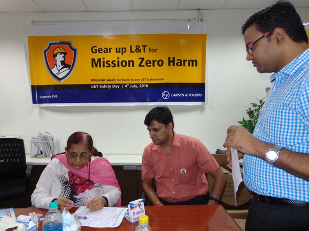 Paramedical Staff of Red-Cross Society during blood group and BP check-up